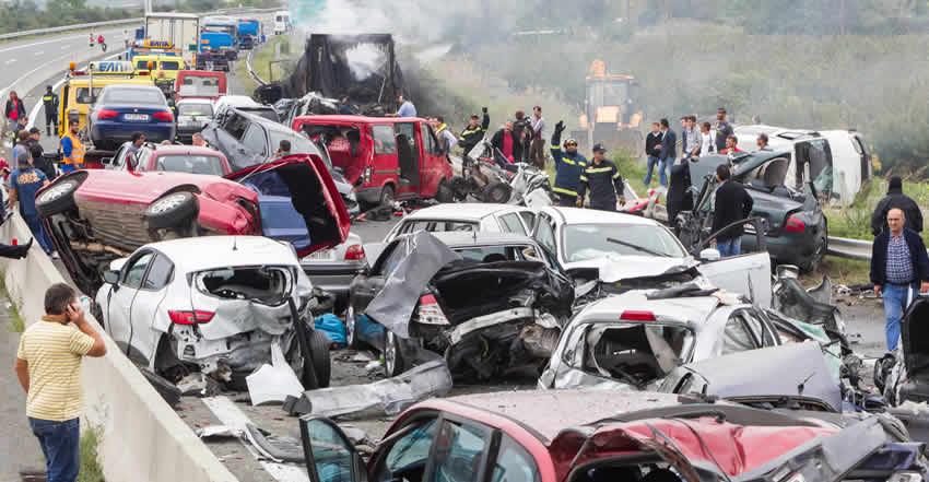 Multiple-vehicle collision